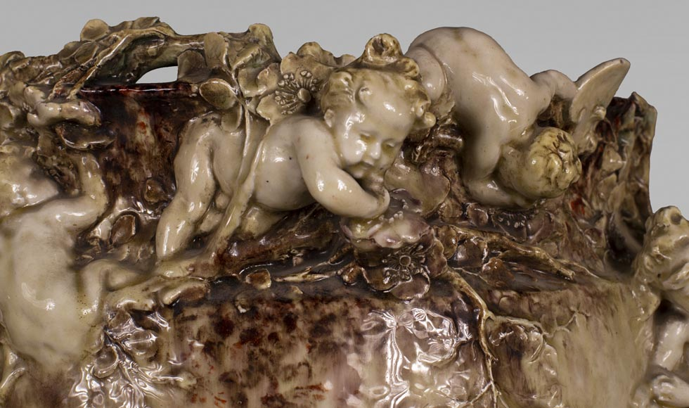 Théodore DECK (1823-1891) and Joseph Gustave CHERET (1838-1894) - Cover-pot with decoration in relief of cherubs-3