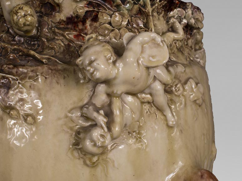 Théodore DECK (1823-1891) and Joseph Gustave CHERET (1838-1894) - Cover-pot with decoration in relief of cherubs-6