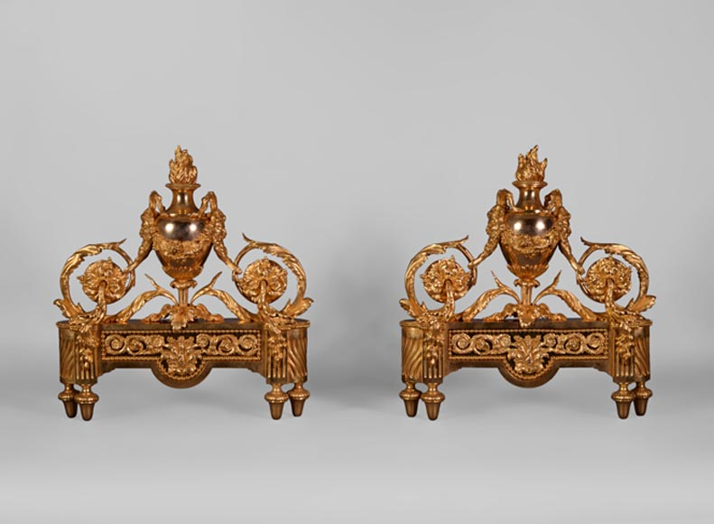 Antique pair of Louis XVI style gilt bronze andirons with fire pots and satyrs  - Reference 10548