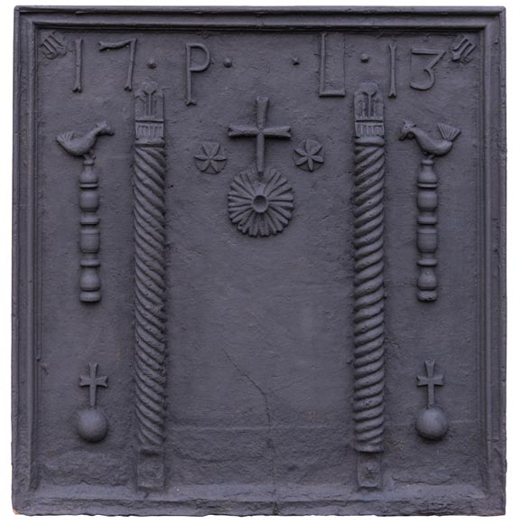 Important antique cast iron fireback with pillars of Hercules, dated 1713-0