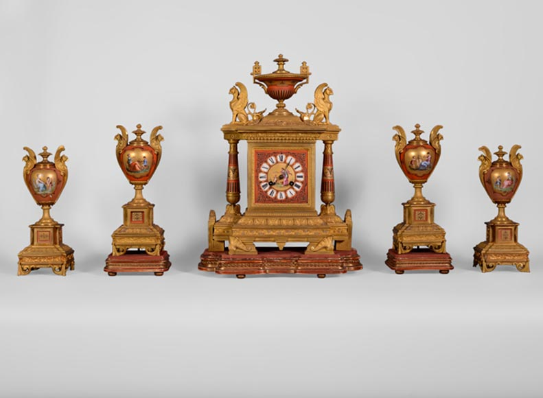 Porcelain and gilded bronze clock set with griffin-0
