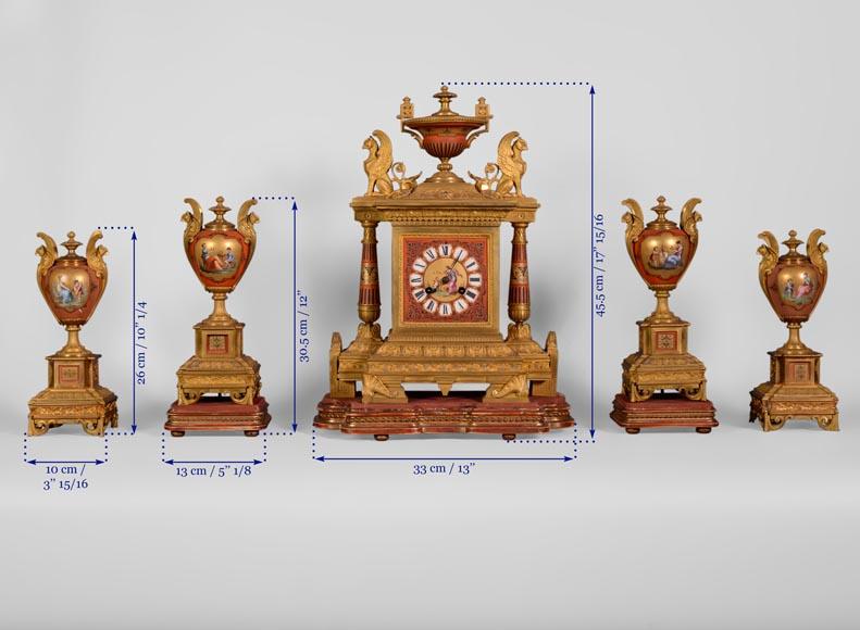 Porcelain and gilded bronze clock set with griffin-11