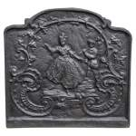 Louis XV style cast iron fireback with dancing lady and musician