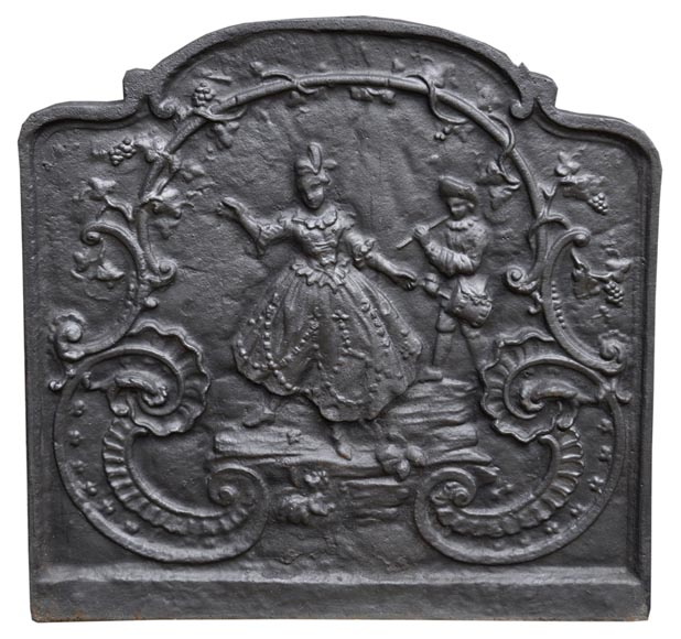Louis XV style cast iron fireback with dancing lady and musician-0