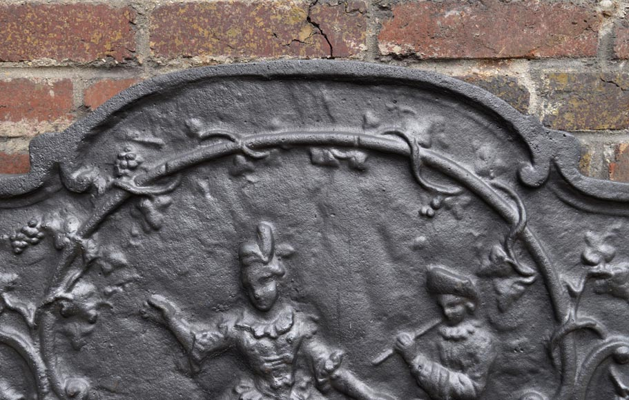 Louis XV style cast iron fireback with dancing lady and musician-6