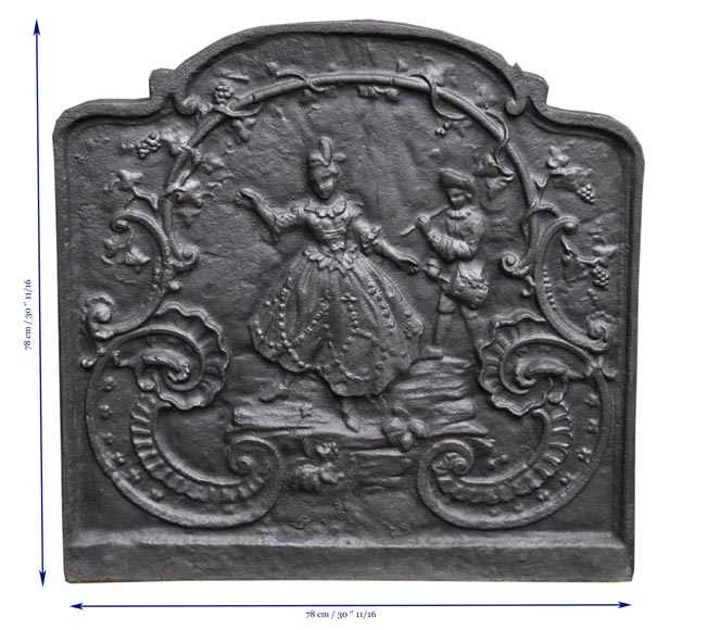 Louis XV style cast iron fireback with dancing lady and musician-8