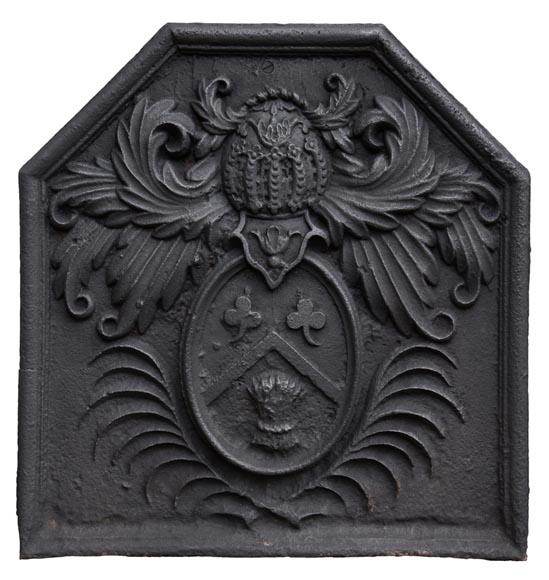 Antique 18th-century fireback with the coat of arms of the Fontaine de Biré family-0