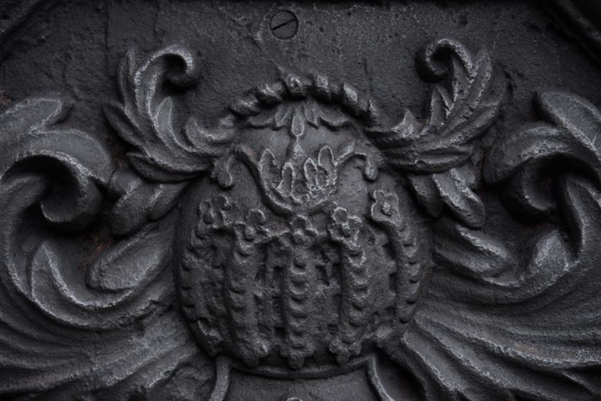 Antique 18th-century fireback with the coat of arms of the Fontaine de Biré family-2