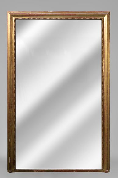 Antique Louis-Philippe style overmantel mirror in gilt wood and stucco, 19th c. - Reference 10574