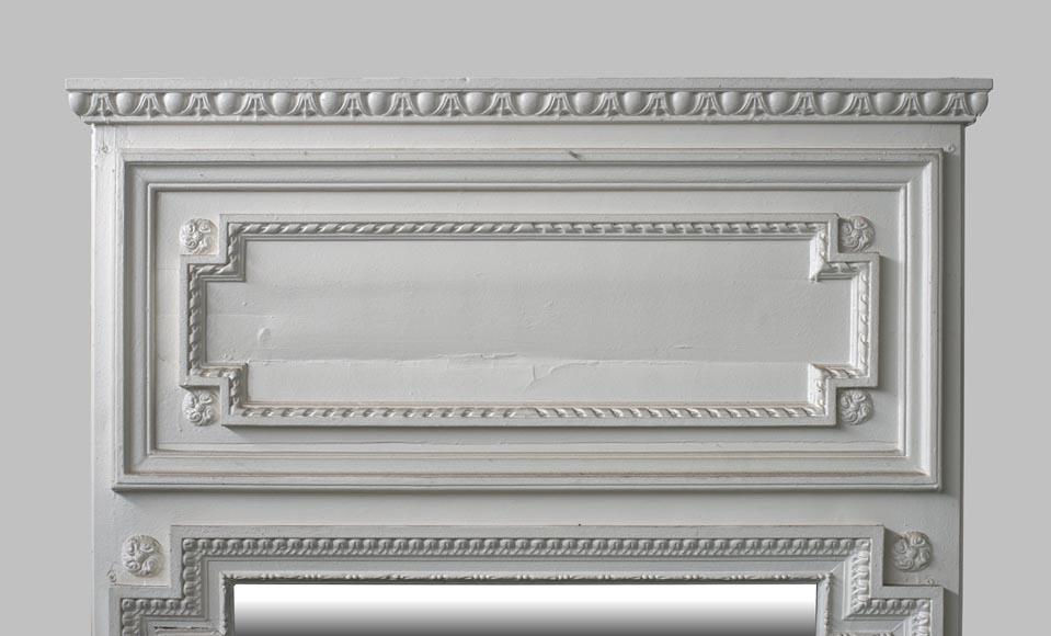 Benoist Reclaimed Wood Vanity Mirror: Antique Louis XVI Style Overmantel Mirror In Painted Wood