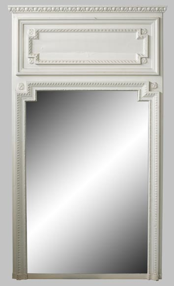 Antique Louis XVI style overmantel mirror in painted wood and stucco, 19th century-0