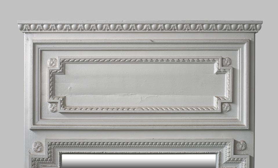 Antique Louis XVI style overmantel mirror in painted wood and stucco, 19th century-1