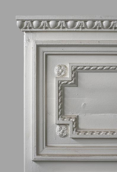 Antique Louis XVI style overmantel mirror in painted wood and stucco, 19th century-2