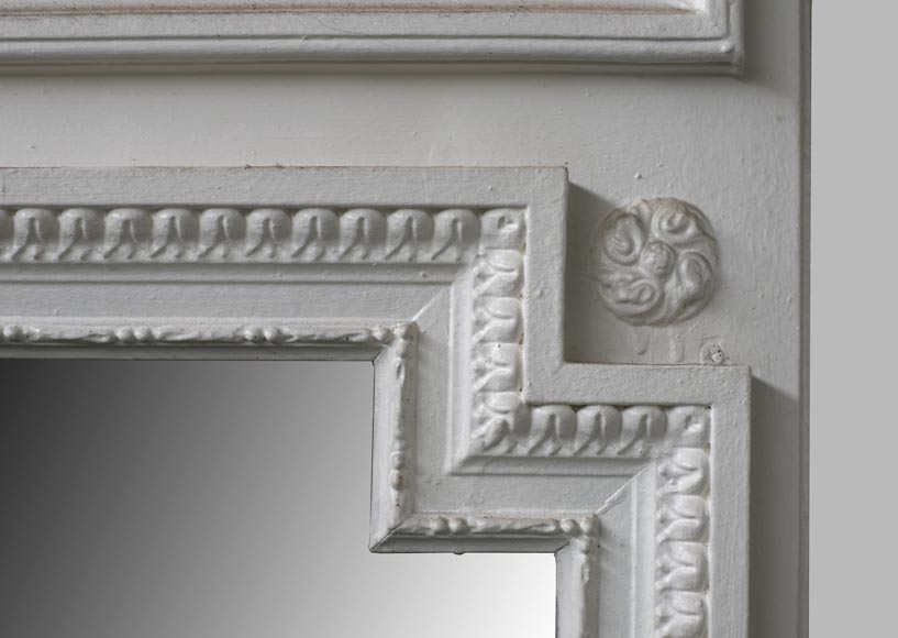 Antique Louis XVI style overmantel mirror in painted wood and stucco, 19th century-3