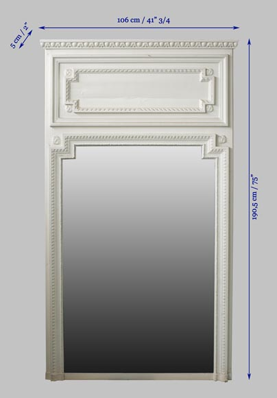 Antique Louis XVI style overmantel mirror in painted wood and stucco, 19th century-7