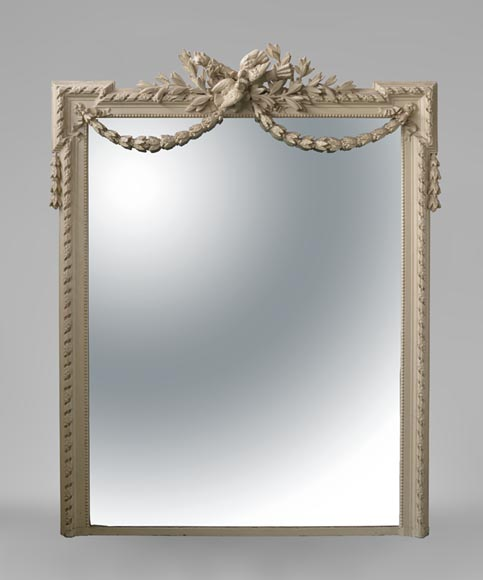 Beautiful antique Napoleon III overmantel mirror, wood and painted stucco, with birds decor - Reference 10578