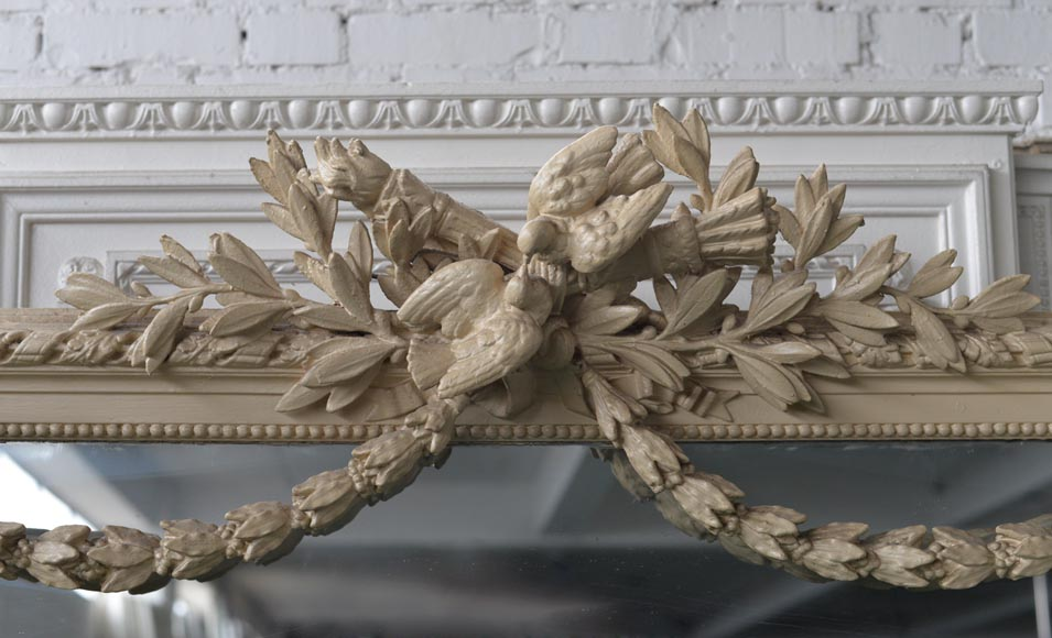 Beautiful antique Napoleon III overmantel mirror, wood and painted stucco, with birds decor-1