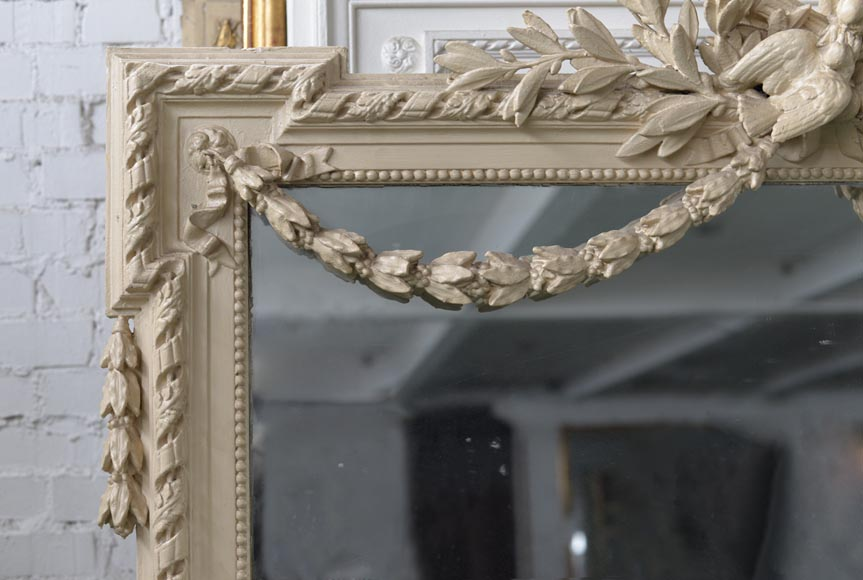 Beautiful antique Napoleon III overmantel mirror, wood and painted stucco, with birds decor-3