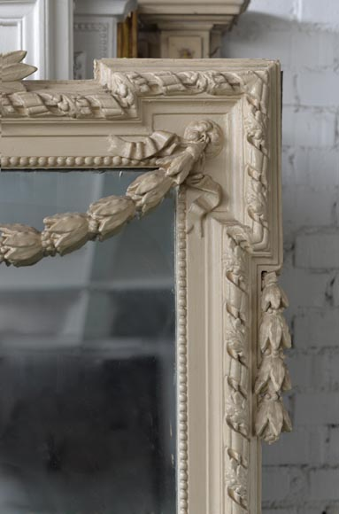 Beautiful antique Napoleon III overmantel mirror, wood and painted stucco, with birds decor-5