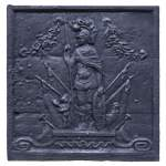 """Mars between Cupid and Alectryon"", antique cast iron fireback"