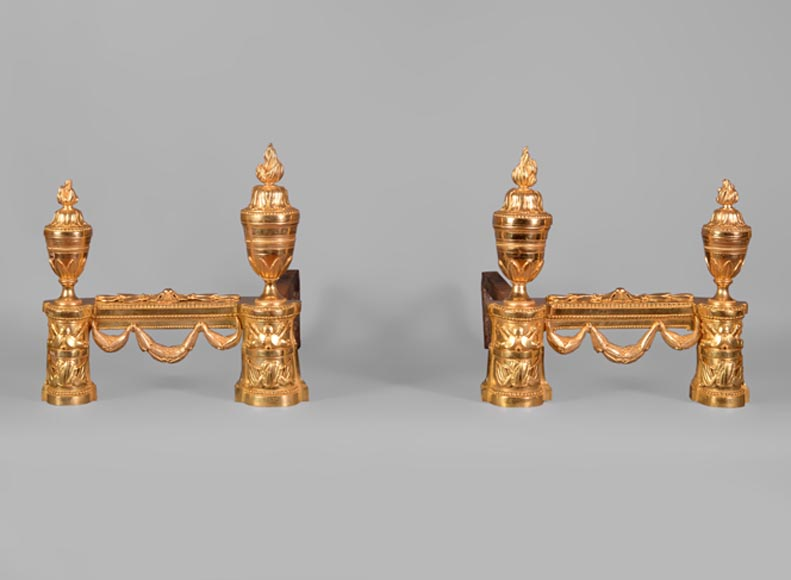 Beautiful pair of Napoleon III style gilt bronze andirons with military trophies-0