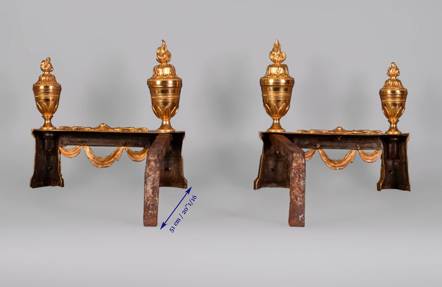 Beautiful pair of Napoleon III style gilt bronze andirons with military trophies-6