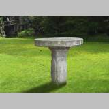 Antique garden table in limestone with engraved decoration, 19th century