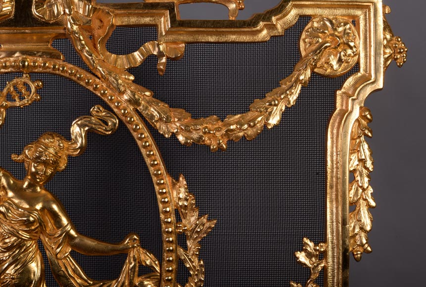 Antique Napoleon III style firescreen made of gilt bronze with dancer and opulent decor-2