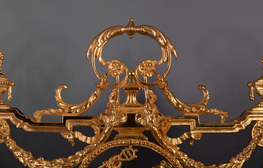 Antique Napoleon III style firescreen made of gilt bronze with dancer and opulent decor-3