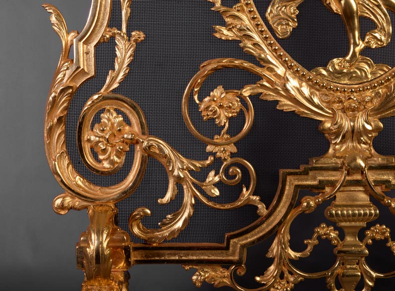 Antique Napoleon III style firescreen made of gilt bronze with dancer and opulent decor-5