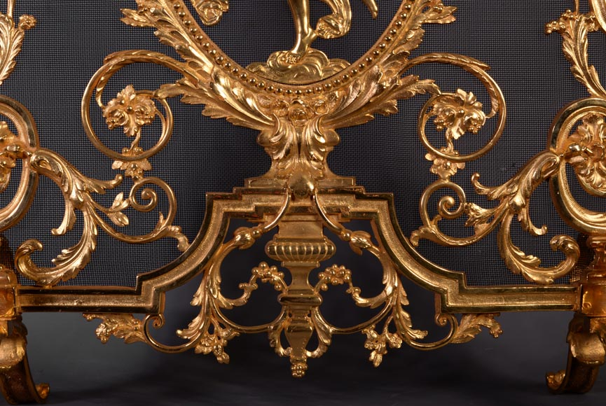 Antique Napoleon III style firescreen made of gilt bronze with dancer and opulent decor-6