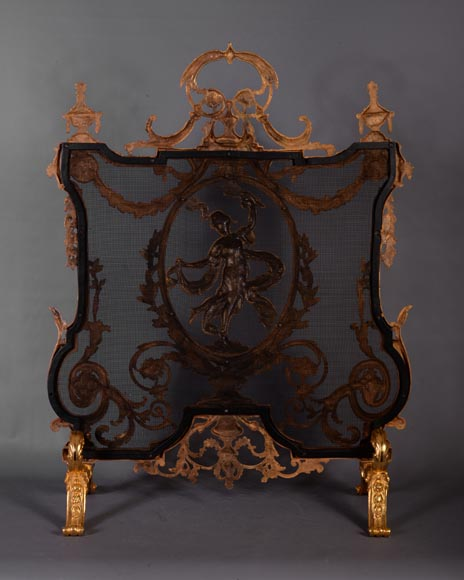 Antique Napoleon III style firescreen made of gilt bronze with dancer and opulent decor-8