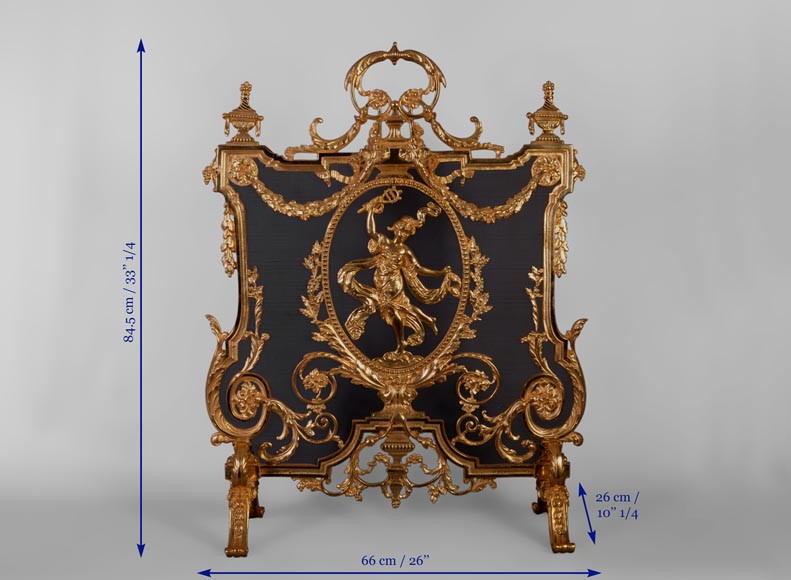 Antique Napoleon III style firescreen made of gilt bronze with dancer and opulent decor-9