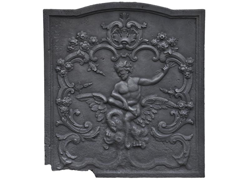 """Zeus Lightning"", antique cast iron fireback - Reference 10601"