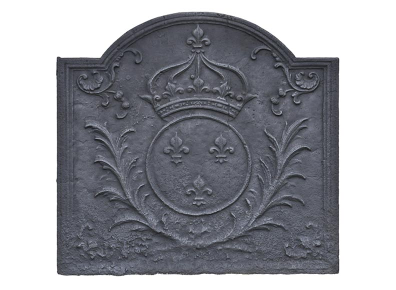 Antique cast iron fireback with French coat of arms - Reference 10602