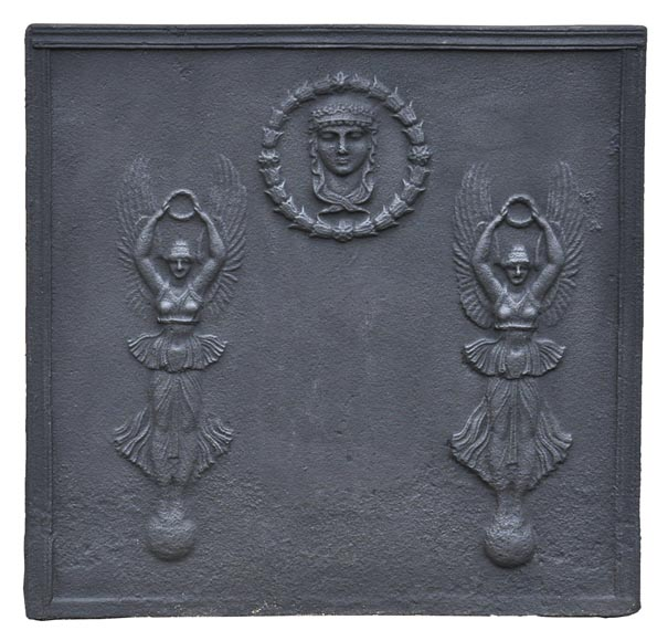 Empire cast iron fireback with Winged Victories, 19th century-0