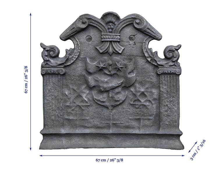 Antique cast iron fireback with coat of arms with a sword and two stars, two ionic pilasters and leather cut pattern, late 17th century -7