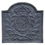 Antique 18th-century cast iron fireback with Leopold Ist Duke of Lorraine coat of arms