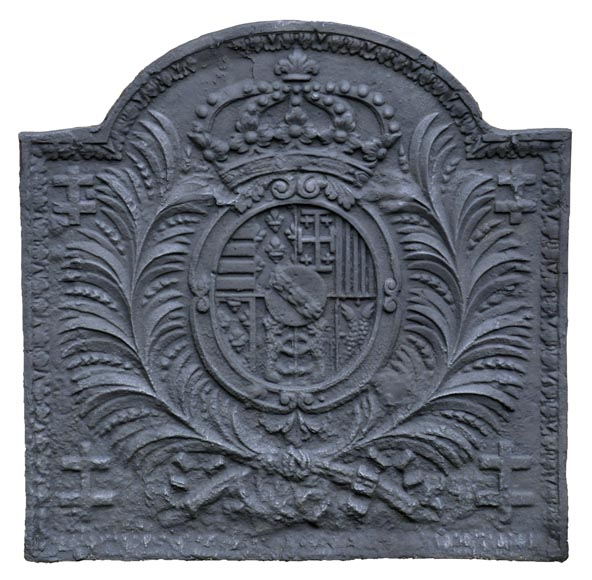 Antique 18th-century cast iron fireback with Leopold Ist Duke of Lorraine coat of arms-0
