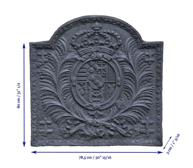 Antique 18th-century cast iron fireback with Leopold Ist Duke of Lorraine coat of arms-7