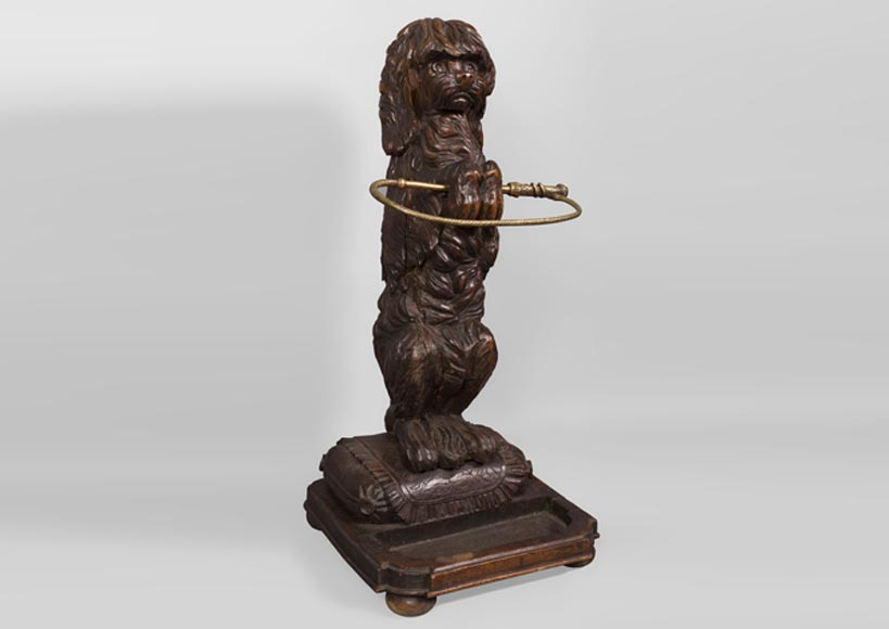 Carved wood umbrella stand with circus dog, late 19th century - Reference 10621