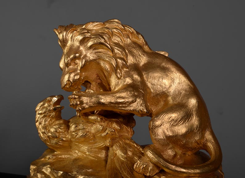 Beautiful antique Romantic style fire fender in gilt bronze with hunters lions-6