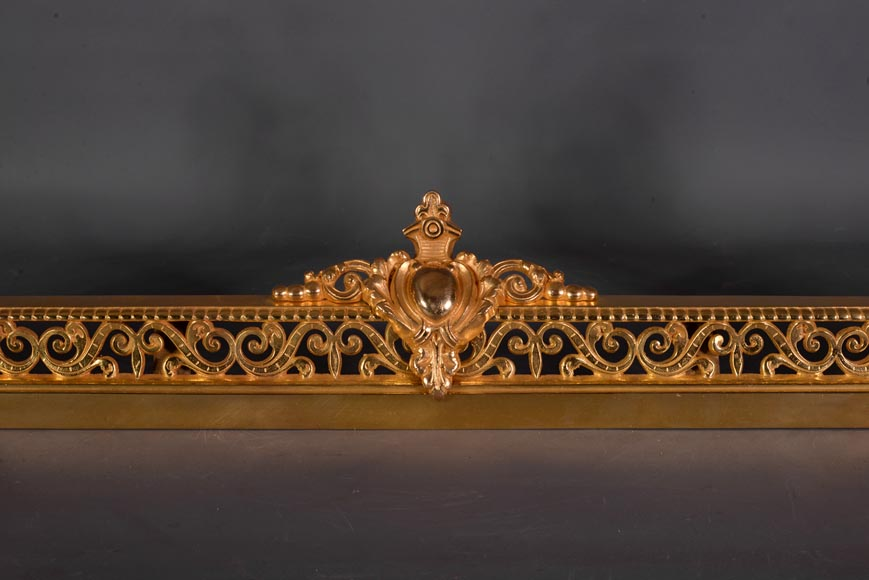 Antique Napoleon Iii Style Fire Fender In Gilt Bronze With