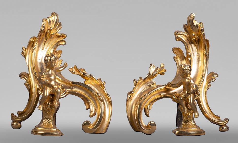 Pair of Louis XV style gilded bronze andirons decorated with putti-0