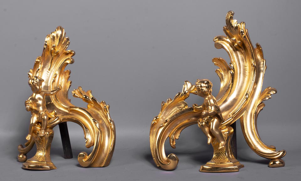 Pair of Louis XV style gilded bronze andirons decorated with putti-2