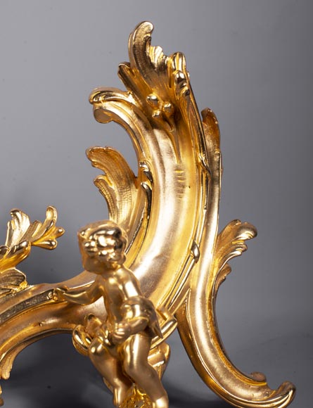 Pair of Louis XV style gilded bronze andirons decorated with putti-8