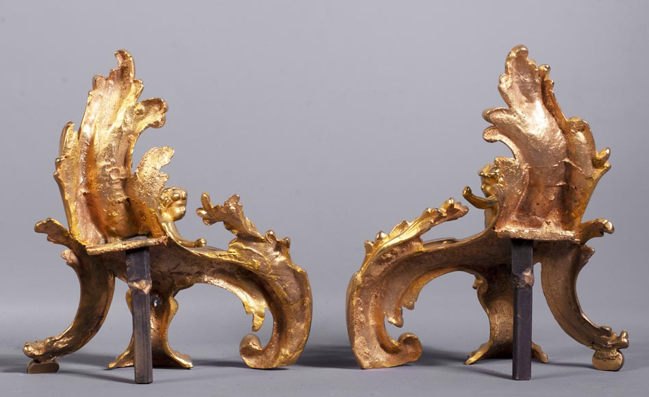 Pair of Louis XV style gilded bronze andirons decorated with putti-11