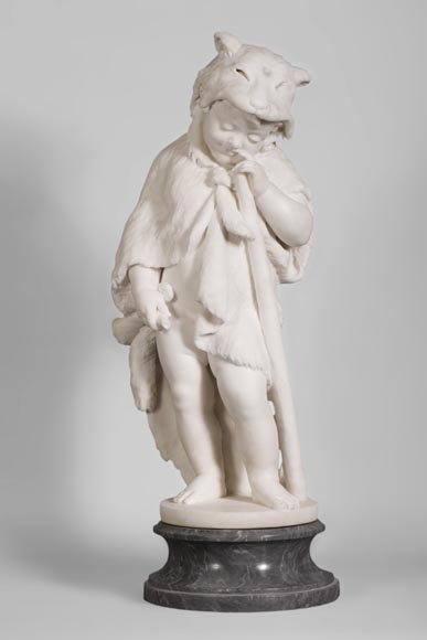 """Heracles as a child"", sumptuous sculpture in Statuary marble, c. 1880  - Reference 10636"