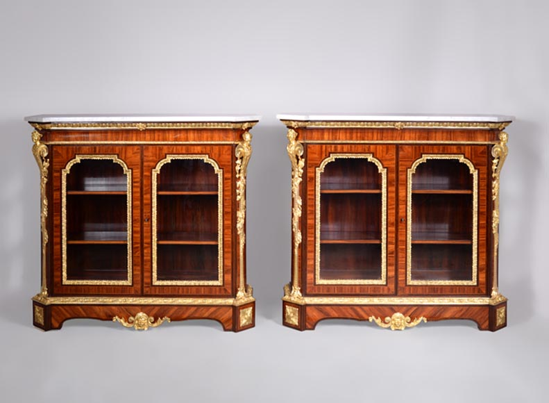 MONBRO (att. to) Pair of cabinets with  espagnolettes in gilt bronze-0