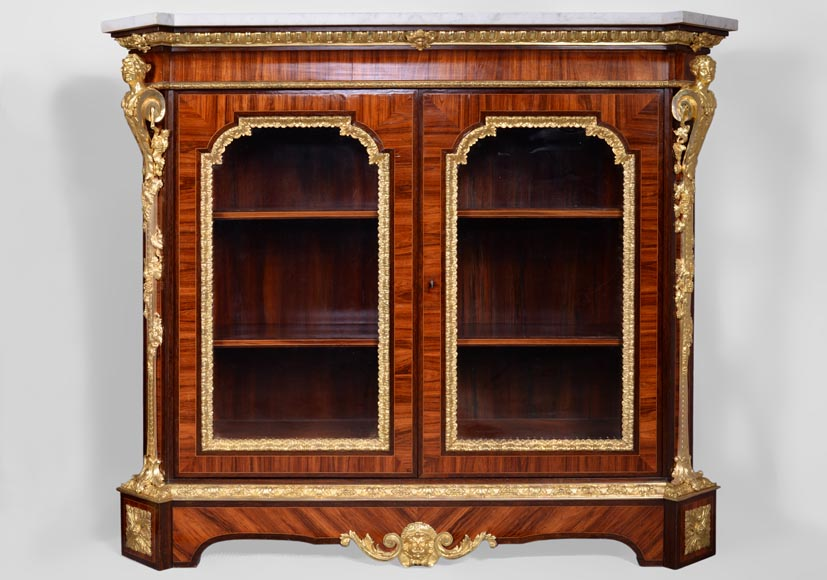 MONBRO (att. to) Pair of cabinets with  espagnolettes in gilt bronze-1